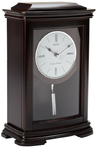 Seiko Mantel Chime with Pendulum Clock Dark Brown Alder Case ()
