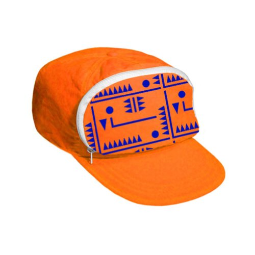 Cap-sac Fanny Pack hat for Your Head - Nylon Cap with Zipper Pocket and Adjustable Closure - Mens Hats/Womens Hats (Orange/Purple Design)]()