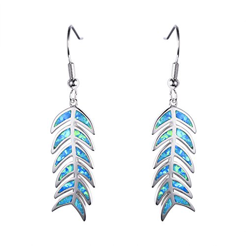 Adeser Jewelry 925 Girls opal earings Fishbone Fishtail Leaves Blue Opal Earring Promise Wedding Engagement Stud Earrings (Silver Fish Bone Earrings)