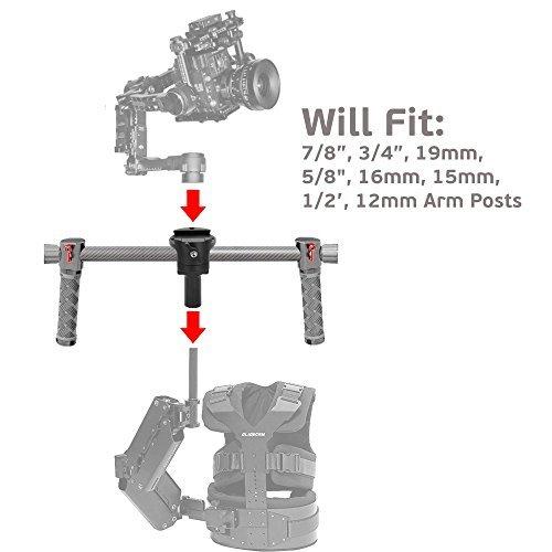 GyroVu Universal Armpost Adaptor for DJI Ronin/Tiffen/Steadycam G40, G50, G60 G70, Scout, Zephyr; Glidecam X-10, X-20, X-30, X-45, Gold; GPI Pro Atlas, Titan; ActionCam