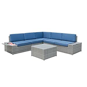 HToutdoor 6 Pieces Grey Outdoor All-weather Hand-woven Rattan Wicker Mediterranean-style Furniture Sofa Set with Blue Cushions