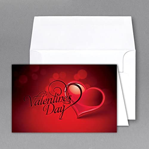 6.5 X 4.25 Valentine Cards & Envelopes (Script Heart)- Cards When Folded - Pack of 25 Sales