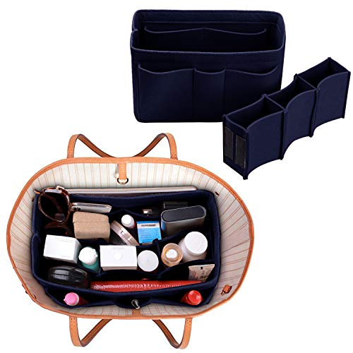 Purse Organizer Insert, Felt(3MM) Fabric Bag Organizer for LV Neverfull, LV Speedy, Purse Handbag Tote Bag, 3 Sizes, 8 Colors (medium, Purplish Blue) by ETTP (Image #4)