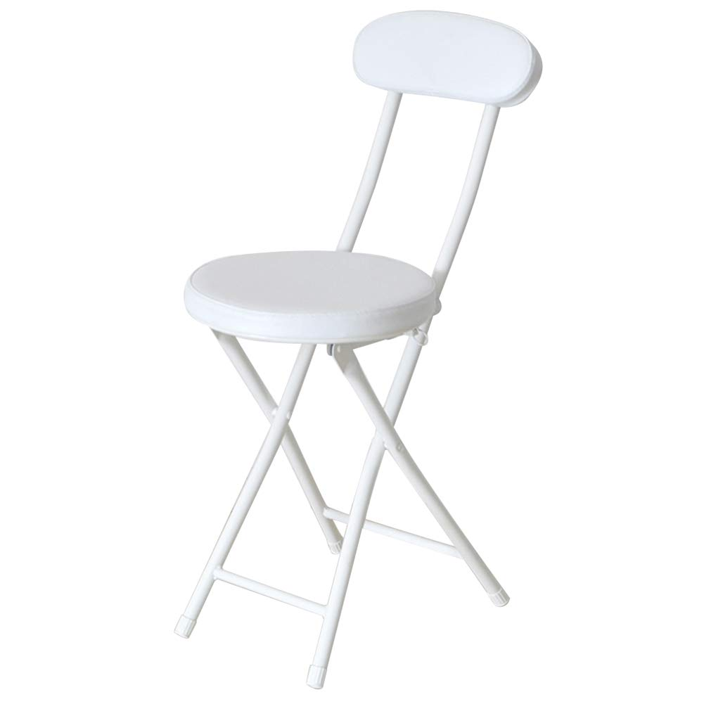 Lzttyee Portable Folding Round Metal Stool Modern Minimalist Home Back Dining Chair Office Chair Bar Chair (White) by Lzttyee