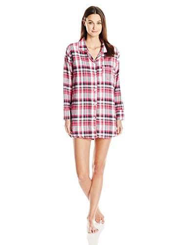 Bottoms Out Women's Flannel Sleep Shirt, Pink/White, Small