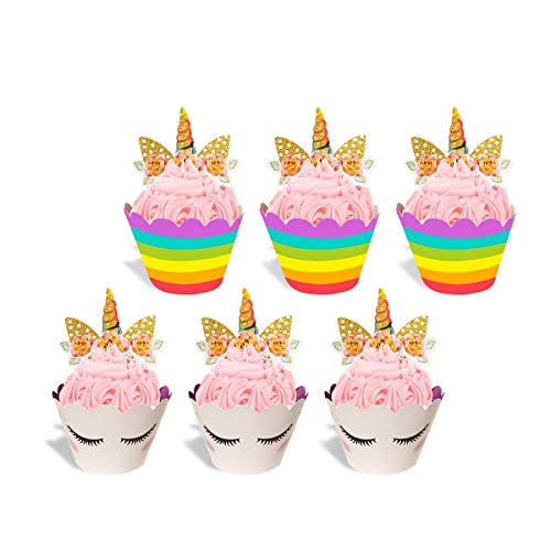 Handmade Unicorn Cupcake Toppers Cake Double Sided Wrappers for Kids Birthday Party Business Events Wedding Baby Bridal Shower Cake Decorations Set of -