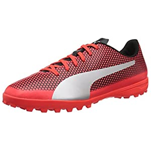 PUMA Men's Spirit Turf Trainer Soccer Shoe, Red Blast Silver Black, 10 M US