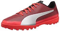 Puma Men's Spirit Turf Trainer Soccer Shoe, Red Blast Silver Black, 8.5 M Us