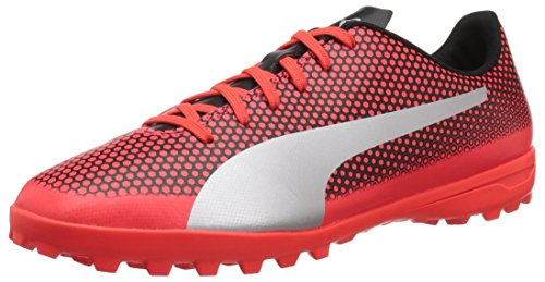PUMA Men's Spirit Turf Trainer Soccer Shoe, Red Blast Silver Black, 14 M US