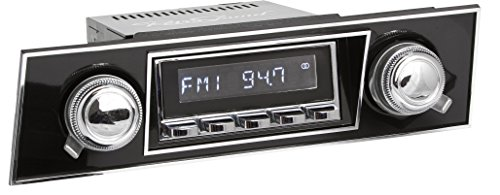 RetroSound HC-401-03-73 Hermosa Direct-Fit Radio for Classic Vehicles (Chrome Face and Buttons, Black Faceplate)