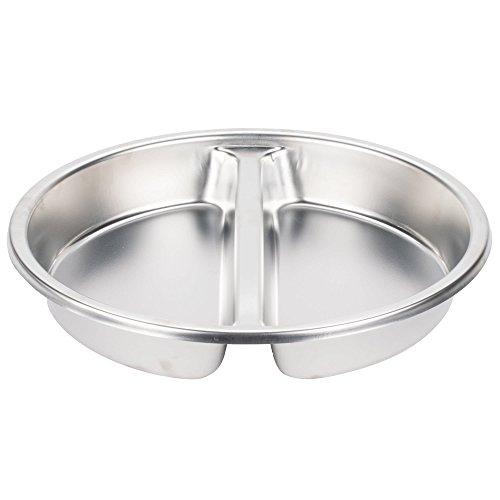 TableTop king Stainless Steel Round Divided Food Pan for 6 Qt. Round Roll Top Chafer