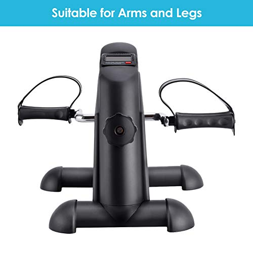 SYNTEAM Mini Exercise Bike with Electronic Display Under Desk Bike Arms Legs Exercise Machine (LWB02, Black) by Synteam (Image #2)