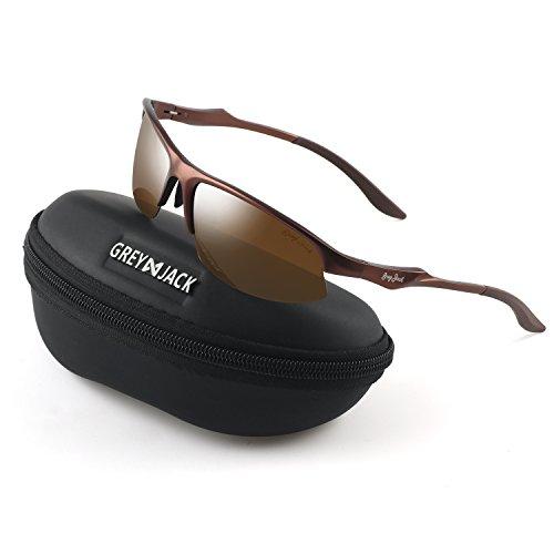 (GREY JACK Al-Mg lightweight Half-Frame Sports Polarized Sunglasses for Men Women Brown Frame Brown Lens)