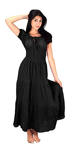 Peach Couture Gypsy Boho Cap Sleeves Smocked Waist Tiered Renaissance Maxi Dress (Ebony, -