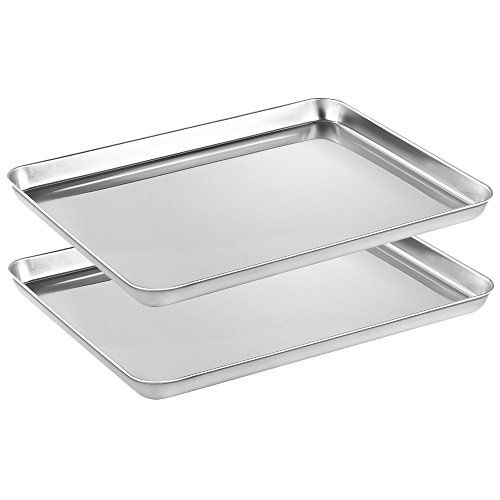Stainless Steel Baking sheets Set 2, HEAHYSI Baking Pans for Oven 2 Pieces & Cookie Sheets Set, Rectangle Size 16 x 12 x 1 inch,Non Toxic & Healthy,Superior Mirror Finish & Easy Clean, Dishwasher Safe by HEAHYSI