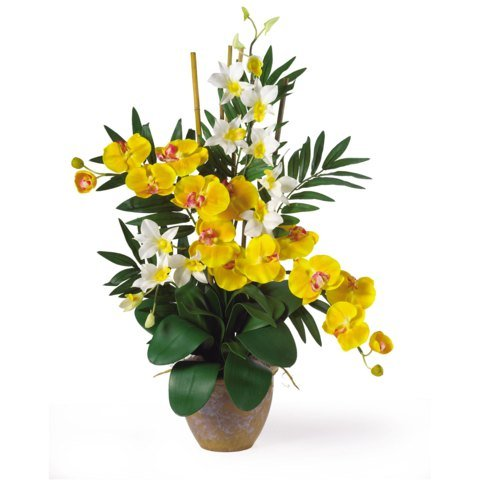 Yellow/Cream Double Phal/Dendrobium Silk Flower Arrangement ()