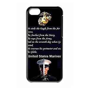 Sophisticated Design Slim Hard Plastic Back Protective Case Shell Cover with Image for iphone 5c - USMC Marine Corps -Black 021404