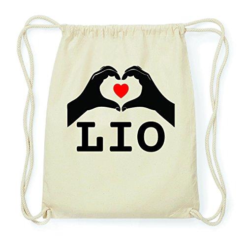 JOllify LIO Hipster Turnbeutel Tasche Rucksack aus Baumwolle - Farbe: natur Design: Hände Herz