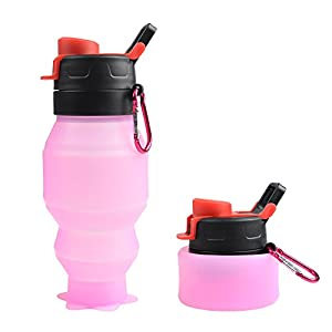 Collapsible Water Bottle 18oz, YUANFENG Leak Proof BPA Free Silicone Foldable Sports Outdoor Travel Water Bottles (Pink)