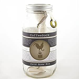 CoffeeSock ColdBrew Kit- Reusable Organic Cotton Filter and Jar (KIT64)