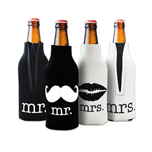 Mr. and Mrs Front and Back Printed Wedding, Anniversary, Newlywed, Bridal Shower Bottle Cooler - Gift for Bride, Mom, Women Her- Present for Couples - Set of 2 (Beer For Women Bottle Koozie)