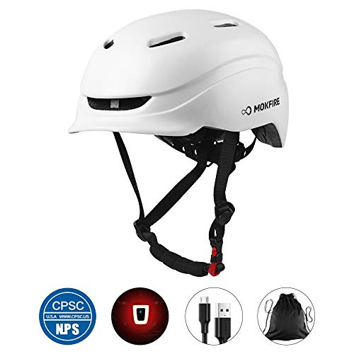 MOKFIRE Adult Bike Helmet with Rechargeable USB Light/Thick EPS Foam, Bicycle Helmet CPSC Certified for Urban Commuter Men Women, Adjustable Lightweight Cycling Helmet, 21.65-24.41 Inches (White)