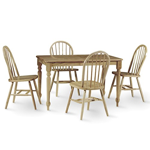 International Concepts 5-Piece 3048 Farmhouse Table with 4 Chairs, Natural Finish