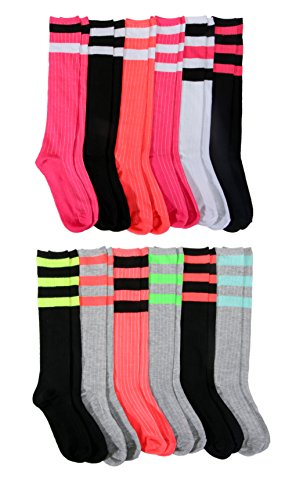 12 Pairs of Womens Colorful Striped Referee Knee High Socks, Bright Neon Colored Ribbed Soft Knee Sock (Assorted -