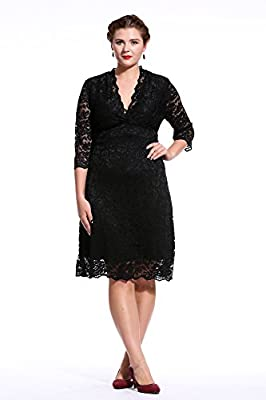 Dilanni Women Plus Size Lace Dress Cocktail Wedding Dress Mother of Bride Dress