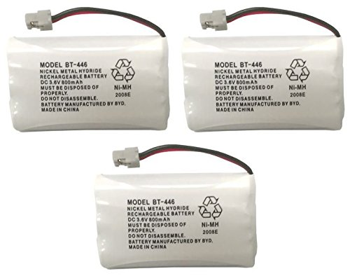 Uniden BBTY0504101 model BT446 Genuine Original OEM Uniden Shipped with Uniden Phones, Part Number BBTY0504101, Nickel Metal Hydride Rechargeable Cordless Phone Battery Pack; Equivalent to Uniden BT909, BT1005 and BT504; Fits WHAM; DC 3.6V 800mAh; Also known as BBTY0504001; Manufactured in China by BYD for Uniden - Pack of 3 Iowa Led Desk Lamp