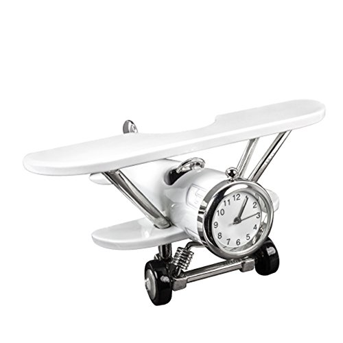Design Gifts Miniature Metal Airplane Clock (White) ()