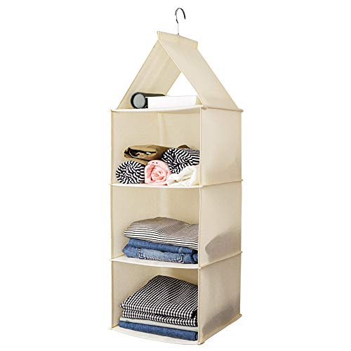 (UUJOLY 3-Shelf Hanging Closet Organizer Fabric Collapsible with PP Plastic Shelf Wardrobe Closet Hanging Shelves for Shoes, Handbags, Clutches, Accessories & Clothing, Beige)