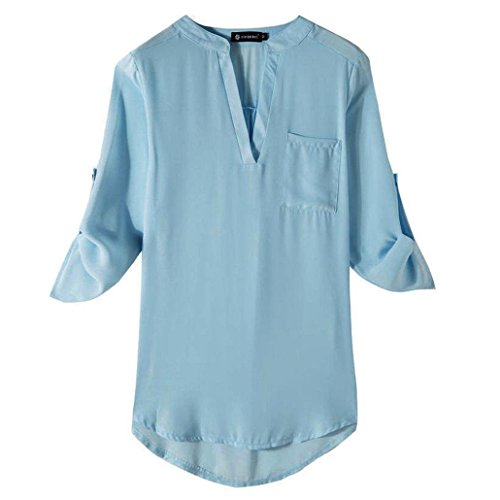 Women Chiffon Top Duseedik Ladies Casual Long Sleeve V Neck Shirt T-Shirt Blouse