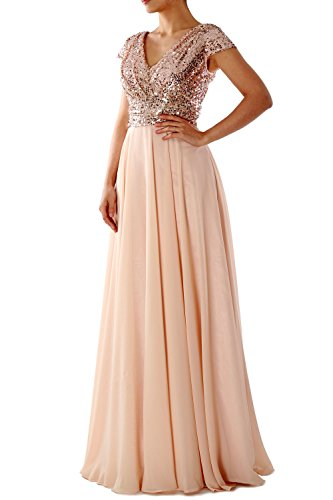 MACloth Cap Sleeve V Neck Sequin Chiffon Bridesmaid Dress Formal Evening Gown (EU58, 0)