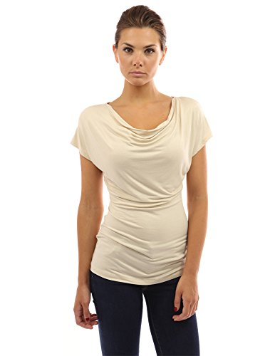 PattyBoutik Women Cowl Neck Short Sleeve Top (Beige Small)