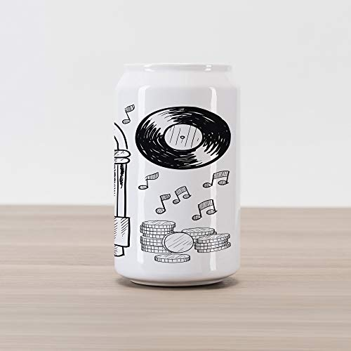 Ambesonne Jukebox Cola Can Shape Piggy Bank, Doodle Style Retro Music Box Notes Coins Long Play Vintage Sketchy Artwork, Ceramic Cola Shaped Coin Box Money Bank for Cash Saving, Black and White