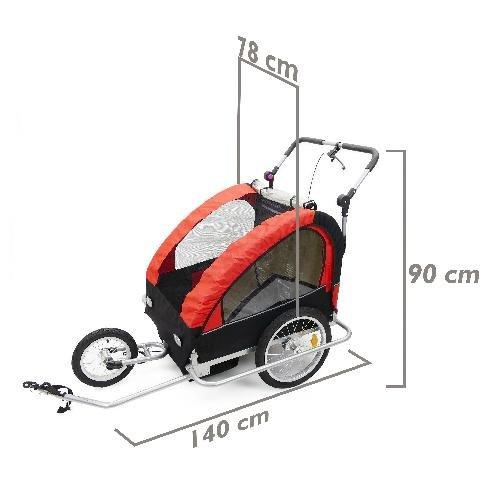 Cablematic – Remolque de bicicleta para transportar 2 niños doble rojo negro con 3 ruedas y freno aluminio