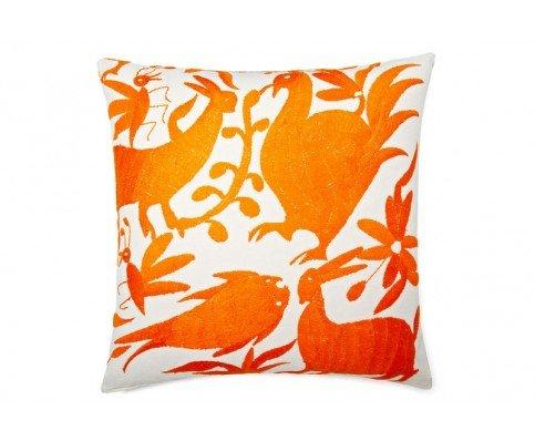 Mejicano bordado Otomi naranja manta de algodón Toss Accent ...