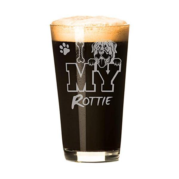 I Love My Rottie 16 oz Beer Rottweiler Pint Glass (1 Glass) 1