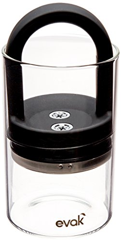 Lever Handles Crystal Finish (Best PREMIUM Airtight Storage Container for Coffee Beans, Tea and Dry Goods - EVAK - Innovation that Works by Prepara, Glass and Stainless, Soft Touch Black Handle, Medium)