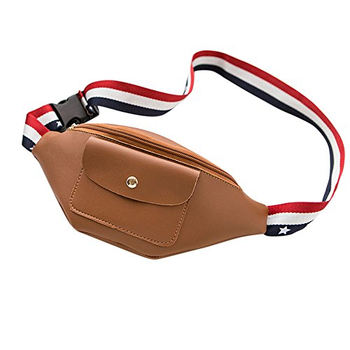 Waist Zipper Ribbon Waist Color Zipper Bag Zycshang Fashion Solid Waist Document Color Phone Phone Bag Bag Brown Women Solid Flag Bag Pocket Pack Chest Vertical Bag fwfA6qXUx