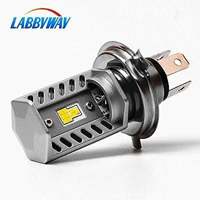 LABBYWAY H4 LED Bulb Super Bright Motorcycle Headlights Lamp High Low Beam Lights, Upgrade 9-CSP Chipsets 6500K Used for Suzuki Kawasaki BMW Yamaha Honda,Xenon White: Automotive