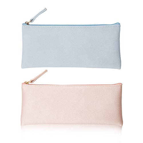 EONMIR PU Leather Pencil Cases Pouch Bag with Zipper,Small Simple Pencil Pouches, Makeup Pouch, Cosmetic Pouch (Blue+Pink) (Pencil Cases Small)