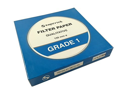 Filter Paper, Qualitative, Grade 1, 150 mm (Diameter) Pack of 100 sheets by Supertek