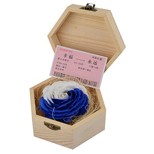 (eDealMax Femmes Coffret Cadeau Bois Boîte Rose Fleur Fait Main Corps Bain Savon Pétale Bleu Royal Blanc)