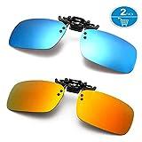 Polarized Clip-on Sunglasses for Driving Fishing - Flip up Sunglasses over Prescription Glasses (Blue + Orange)