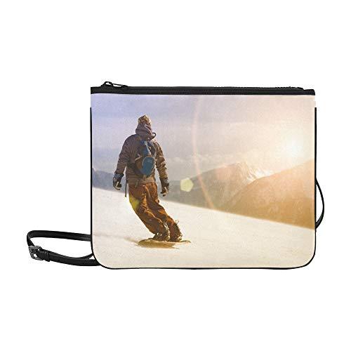 (Snowboarder Jumping Through Air Pattern Custom High-grade Nylon Slim Clutch Bag Cross-body Bag Shoulder Bag)