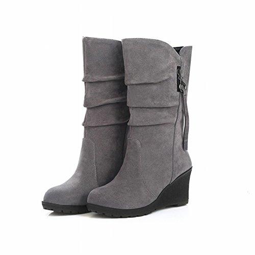 Cabeza Redonda Femenina Color Puro Cálido en Las Botas Pendiente Escarchada con Botas de Zapatos , gris , EUR38