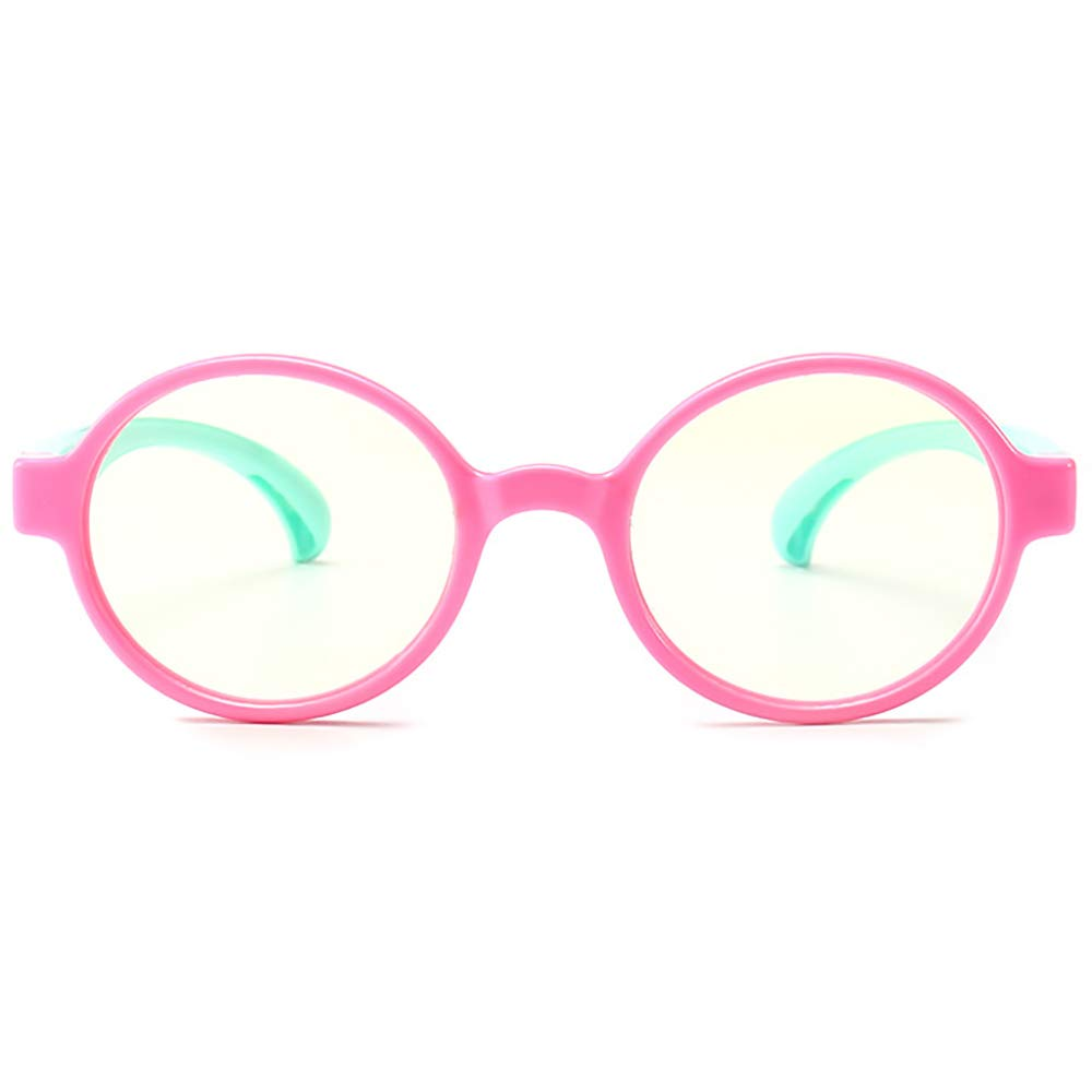 298854fcdbdd Amazon.com  Round Anti Reflective Computer Glasses Block Blue Light and  Harmfull UV with Clear Lens for Kids and Teens - School Boy Girl Style  Pink  Health ...