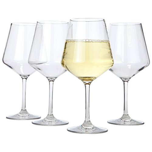 Lily's Home Chef Collection Unbreakable Chardonnay White Wine Glasses, Made of Shatterproof Tritan Plastic, Ideal for Indoor and Outdoor Use, Reusable (15 oz. Each, Set of 4) - Lily Rose Collection